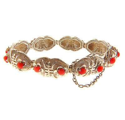 Antique Chinese Silver Filigree Coral Bracelet .5x7 Longevity