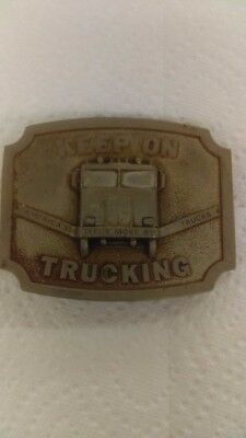 Vintage 1975 Bergamot Brass Works Keep On Trucking Belt Buckle
