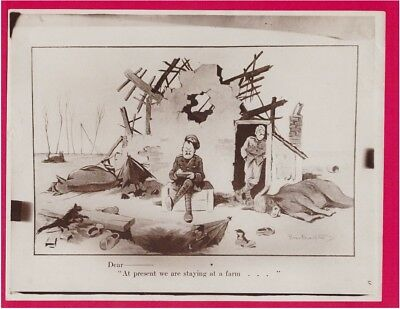 WWI British Humor Dear At Present We Are Staying At A Farm Original Press Photo