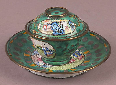 Fine Antique 18thC Chinese Canton Emaille Cloisonné Cup & Saucer with Cover
