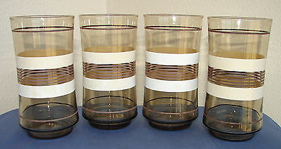 "(4) RETRO LIBBEY DRINKING GLASSES TUMBLERS 5"" SMOKE AMBER WITH STRIPES ~ 1970's"
