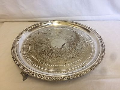 Attractive  Silver Plated Chased Footed Drinks Tray