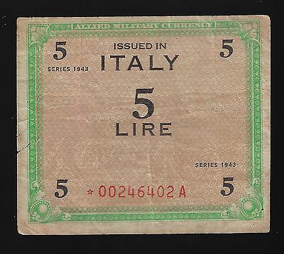 Italy AMC series 1943  5 Lire Replacement Star (RARE)