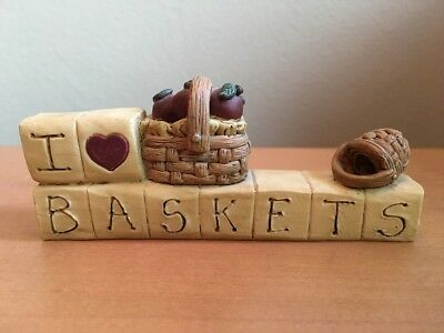"""I Love Baskets"" Resin Blocks decor - Handmade 2000"