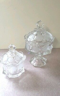 2.Mint Condition Vintage Fostoria Clear Coin Dot Candy Jar w Lid Vintage