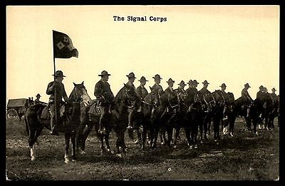 The Signal corps military soldiers flag old unused Postcard