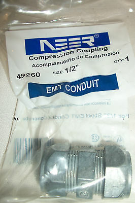 """Lot of 50~1/2"""" EMT Conduit Compression Coupling~Connector~Sigma/Neer~49260"""