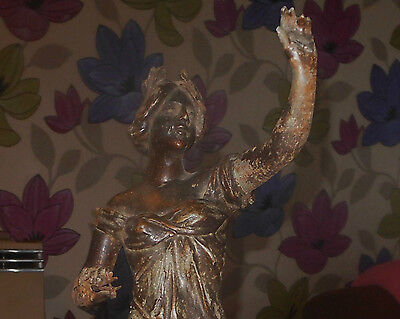 French Spelter Figure Woman With Calipers Etc,bronze Finish 15 Inches Tall