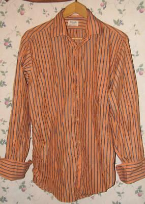vintage Mens GANT Shirtmaker Button Down SHIRT 16 / 34 Orange w/ Blue Stripe