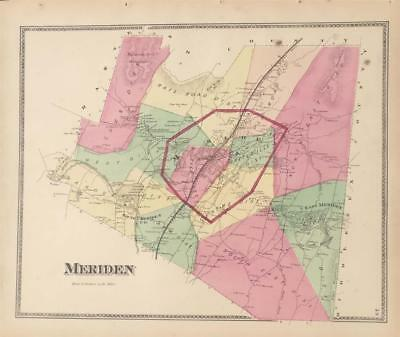 Antique Map Meriden, Connecticut - FW Beers New Haven County 1868