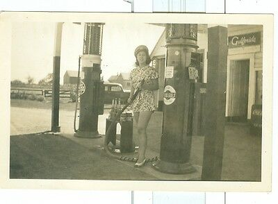 Vintage Photo Girl by Glass Top Gulf Gas Pump