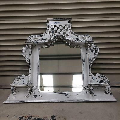 Antique Shabby Chic Overmantle Wall Mirror / Distressed Winter Grey over Black