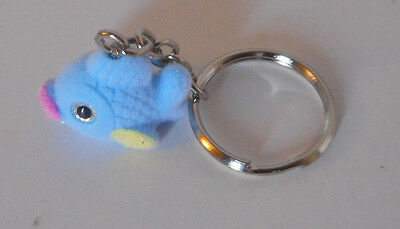 Adorable! key chain backpack purse decoration accessory flocked blue fish