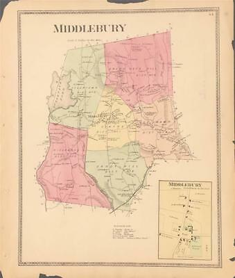 Antique Map Middlebury, Connecticut - FW Beers New Haven County 1868