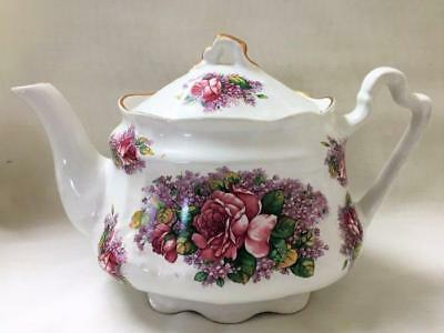 Arthur Wood & Son Staffordshire England Pink Roses Flowers Floral Teapot 6546