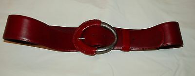 Ladies Chico's Red Belt Size Large Wide Pewter Look Buckle