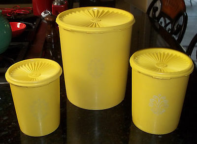 Vintage Tupperware Set of 3 Canister Containers, Bright Yellow
