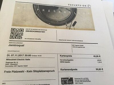 2 Tickets für Jamiroquai am 7. November 2017 in Düsseldorf