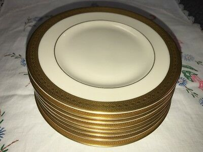 Lot Of 8 Syracuse Old Ivory Bracelet Gold Encrusted Bread & Butter Plates