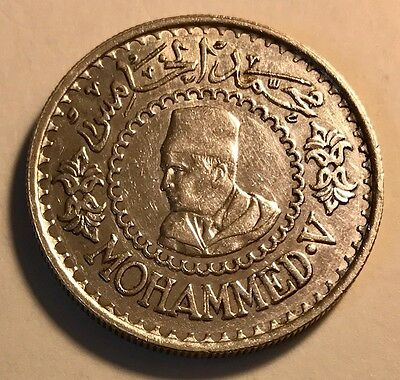 MOROCCO - Mohammed V - 500 Francs AH 1376 / AD 1956 - Silver Coin