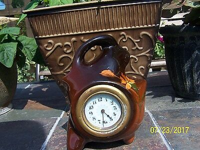 Weller Louwelsa art pottery vintage clock with hand painted floral