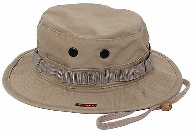 Boonie Jungle Hat Vintage Khaki Military Style Washed Fabric Rothco 5902