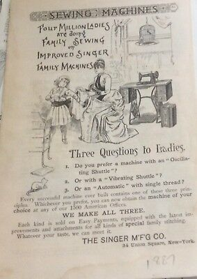Singer Sewing Machine 1887 Ad Full Page
