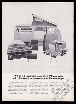 1968 VW Camper Campmobile bus with equipment photo vintage Volkswagen print ad