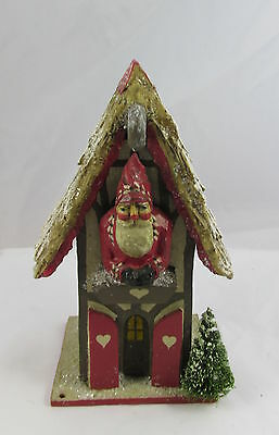 Artist Signed P Schifferl Santa Claus in House w/Snow Hand Painted Decoration