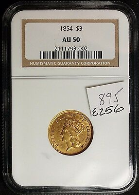 1854 Gold Three Dollar.  NGC AU 50.   e256