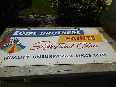 Vintage Original 2-sided LOWE BROTHERS PAINTS Advertising Metal SIGN