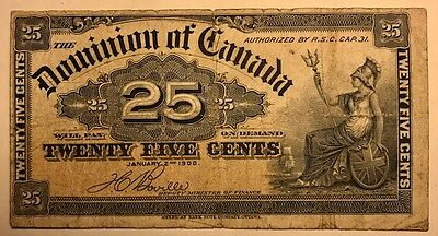 Dominion of Canada - 25 Cents - 1900 - Boville - FREE SHIPPING!