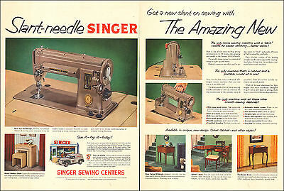 1952 vintage AD SINGER Slant Needle Sewing Machine Sewing Centers 2 pages 072815