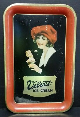 VINTAGE c. 1920s VELVET ICE CREAM ADVERTISING SERVING TRAY SIGN