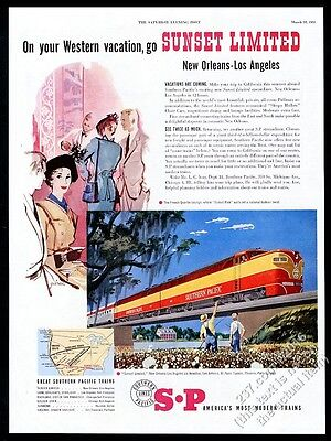 1951 Southern Pacific Railroad Sunset limited train art vintage print ad