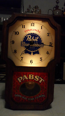 Vintage 1960's Pabst Blue Ribbon  Beer Lighted  Pendulum Wall Clock Sign Working