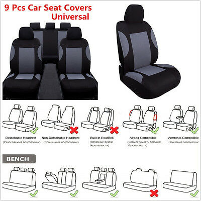 9 Pcs/Set Breathable Polyester Autos Seat Cover + Headrest Covers & Accessories
