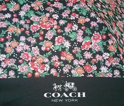 Coach Signature Mini Black Pink Posy Floral Retractable Compact Folding Umbrella