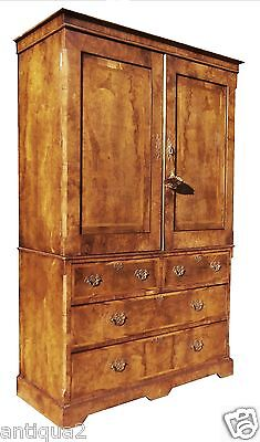 Period English Georgian Burl Walnut Linen Press Cabinet George Wardrobe Armoire