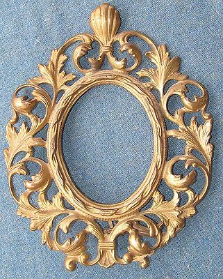 ORNATE Gilt Brass ANTIQUE Victorian ROCOCO style OVAL Picture Photo Mirror FRAME