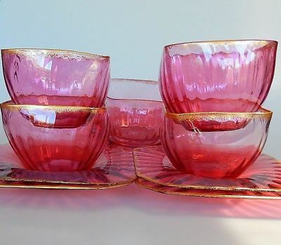 Cranberry Glass Finger Bowls with Underplates Set of 11 Vintage Antique