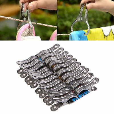 20x Stainless Steel Clothes Pegs Hanging Pins Laundry Windproof Clips