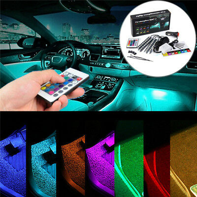 49 led rgb voiture lampe bande intrieur atmosphre clairage lumire remote