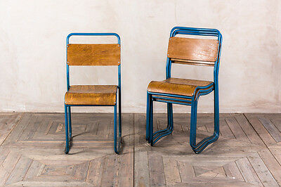 Vintage Metal Stacking Chairs Blue Cafe Stacking Dining Chairs