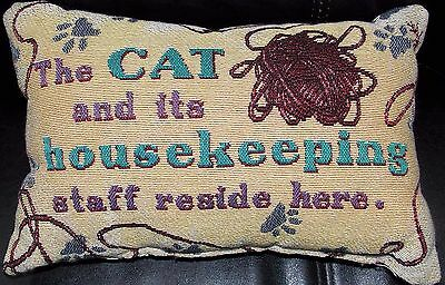 Cat Pillow Small Tapestry Throw Pillow Used The Cat and its Housekeeping Staff