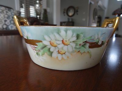 1916 Buffalo China Handled Butter Tub with Strainer Insert RARE Design GOLD MINT