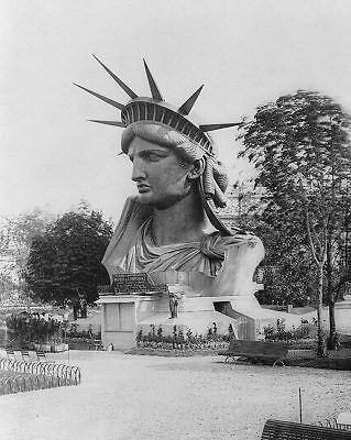 STATUE OF LIBERTY HEAD IN A PARIS PARK 1883 8x10 SILVER HALIDE PHOTO PRINT