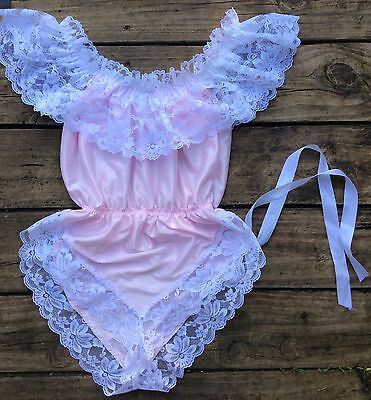 Vintage Dolores 4 Poiretta Gorgeous Satin Pink Frilly Lacy Teddy Sz Med USA Made