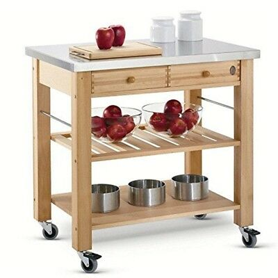 Eddingtons 2 Drawer Lambourn Trolley With Stainless Steel Top