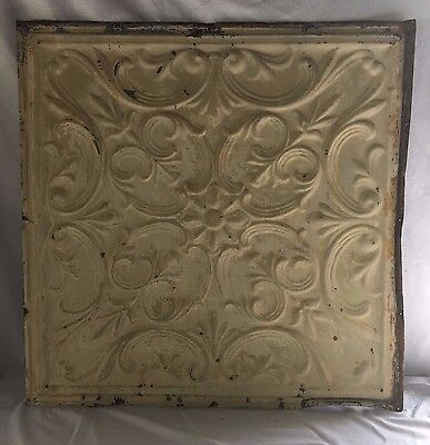"24""x 24"" Antique Ceiling Tin Tan Reclaimed Vintage Metal 403-17"